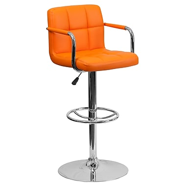 Flash Furniture – Tabouret de bar ajustable en vinyle matelassé orange avec pied et accoudoirs chromés (CH102029ORG)