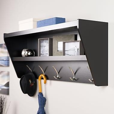 Prepac Floating Entryway Shelf & Coat Rack, Black