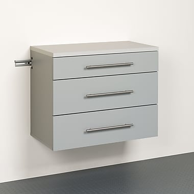 Prepac HangUps 3-Drawer Base Storage Cabinet, Grey