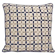 Kevin O'Brien Studio Petal Flower Embellished Linen Throw Pillow; Indigo/Multi