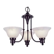 TransGlobe Lighting Contemporary 3-Light Shaded Chandelier; Weathered Bronze