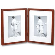 Lawrence Frames Contemporary Hinged Double Picture Frame; Walnut Brown Matted