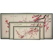 Oriental Furniture 24'' Plum Blossom 4 Panel Room Divider
