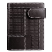 Mancini Collegiate Men s Left Wing Hipster Wallet with Coin Pocket (RFID Secure); Brown