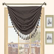 Kashi Home Holly Faux Silk Grommet Top Curtain Valance; Black