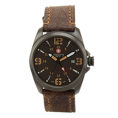 Wenger® Swiss 9971 Mens Analog Watch, Water Resistant Brown Leather Strap