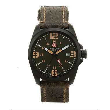 Wenger® Swiss 9972 Mens Analog Watch, Water Resistant Army Green Leather Strap