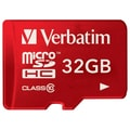 Verbatim® 32GB microSDHC Class 10 Memory Card, Red