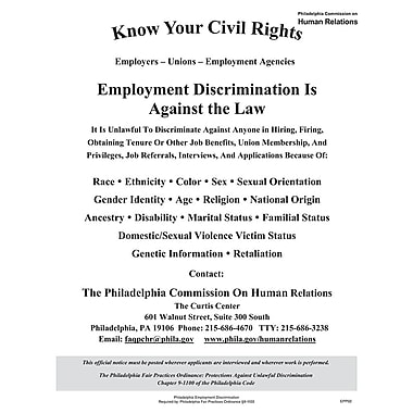 ComplyRight™ Philadelphia Employment Discrimination Poster