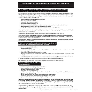 ComplyRight™ Massachusetts Temporary Workers Right to Know Law Vietnamese Poster