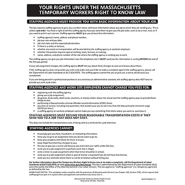 ComplyRight™ Massachusetts Temporary Workers Right to Know Law English Poster