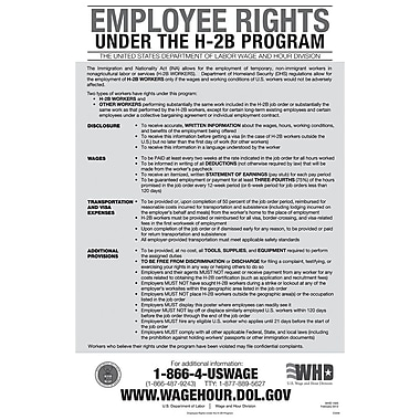 ComplyRight™ Employee Rights Under H-2B Program English Poster