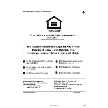 ComplyRight™ Federal Fair HUD Equal Housing Opportunity Poster