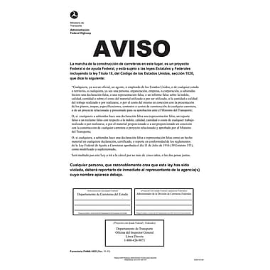 ComplyRight™ DOT Federal Highway Construction Notice Spanish Poster