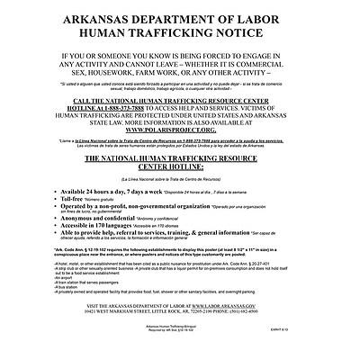 ComplyRight™ Arkansas Human Trafficking Poster