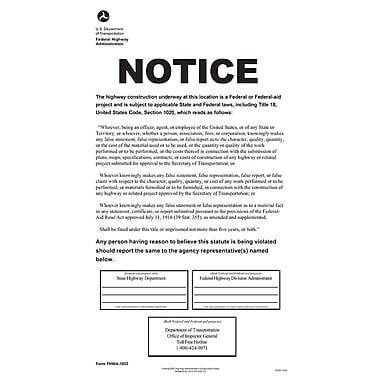 ComplyRight™ DOT Federal Highway Construction Notice Poster