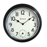 Westclox 32216 Plastic Analog Two Movement Wall Clock, Black/Chrome