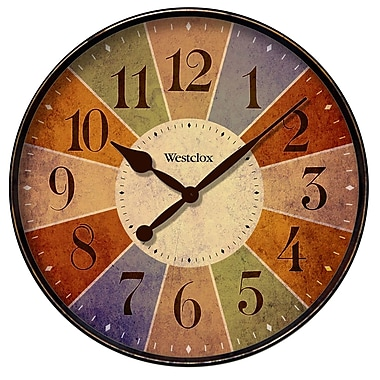 Westclox 32897 Plastic Analog Multi-color Dial Wall Clock, Black