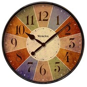 Westclox 32897 Plastic Analog Multi-color Dial Wall Clock, Black