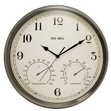 Westclox 49832 Metal Analog Wall Clock, Silver