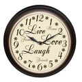 Westclox® 12in. Live Love Laugh Analog Wall Clock, Brown