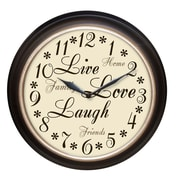 Westclox® 12 Live Love Laugh Analog Wall Clock, Brown