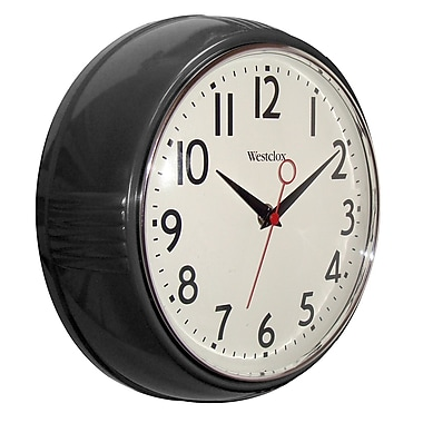 Westclox 32042BK Plastic Analog Wall Clock, Black