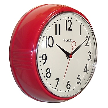 Westclox 32042R Plastic Analog Wall Clock, Red