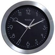Westclox 36001A Metal Analog Quartz Movement Glass Wall Clock, Silver