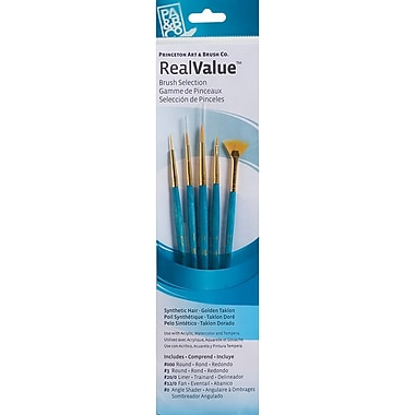 Princeton Art & Brush™ Real Value Synthetic Gold Taklon Brush Set, Round 3/0,3, Liner 20/0, Fan 12/0