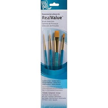 Princeton Art & Brush™ Real Value Synthetic Gold Taklon Brush Set, Round 3, Liner 1