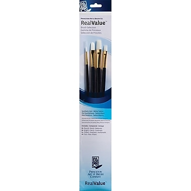 Princeton Art & Brush™ Real Value Synthetic White Taklon Brush Set, Round 1, Bright 4