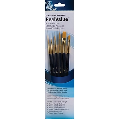 Princeton Art & Brush™ Real Value Synthetic Gold Taklon Brush Set, Round 1,3,5