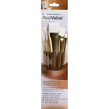 Princeton Art & Brush™ Real Value Synthetic White Taklon Brush Set, Round 1, 4, Shader 6, Wash 0.625
