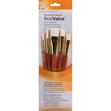 Princeton Art & Brush™ Real Value Synthetic White Taklon Brush Set, Round 8, Liner 2