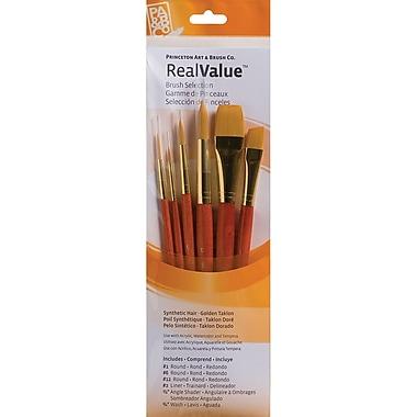 Princeton Art & Brush™ Real Value Synthetic Gold Taklon Brush Set, Round 1,6,12, Liner 2, Ang 0.5
