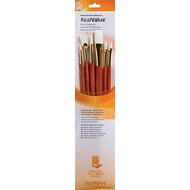 Princeton Art & Brush™ Real Value Synthetic White Taklon Brush Set, Round 2, 6, Fan 2