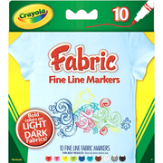 Crayola Bold Point Fabric Marker, Assorted, 10/Pack