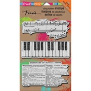 """Stampendous® 7"""" x 5"""" Mixed Media Cling Rubber Stamp, Musical Motif"""