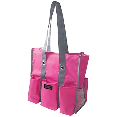 Advantus® Storage Studios Shoulder Tote, Pink/Gray