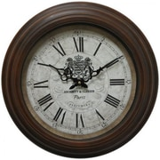 """Yosemite CLKA1A097MD 17"""" Wall Clock With Distressed Brown Iron Frame"""