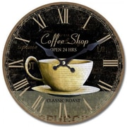 Yosemite CLKA7086 13 1/2 Wall Clock With Coffee Cup Print