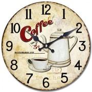 Yosemite CLKA7125 13 1/2 Wall Clock With Bottomless Coffee Print