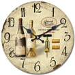 Yosemite CLKA7186 13 1/2in. Wall Clock With Two Bottles Of Wine Print