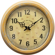 Yosemite Home Decor CLKA7227ME Metal Analog Wall Clock, Yellow