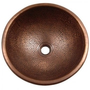 """Yosemite Copper Sinks 6"""" x 16 1/2"""" x 16 1/2"""" Self Rimming Pin Hammered Vessel Sink, Old Penny"""