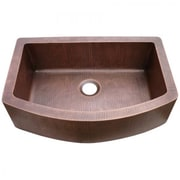 "Yosemite Copper Sinks 9 1/2"" x 33"" x 22"" Farmhouse Hammered Arch Kitchen Sink, Old Penny"