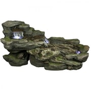 "Yosemite 29 1/2"" Cascading Rock Fountain, Moss Green"