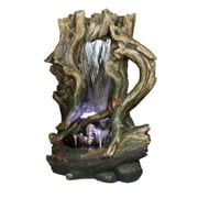 "Yosemite 52"" Tree Stump Waterfall Fountain, Brown/Green"