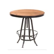 "Yosemite 29"" x 33"" x 1.9"" Solid Mango Wood/Metal Bistro Table, Metallic/Wooden Finish"